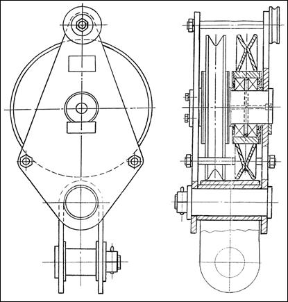 Блок монтажный БМ-20-2-СГО г/п 20т, серьга гнутая и ось