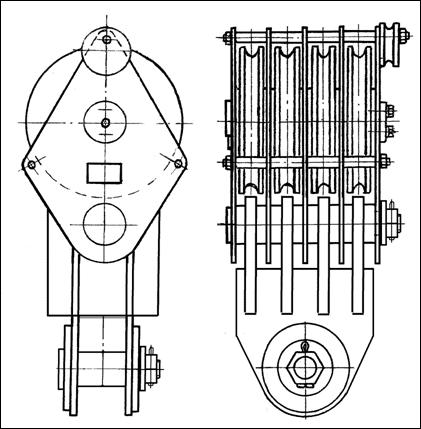 Блок монтажный БМ-32-4-ССО г/п 32т, серьга сварная и ось