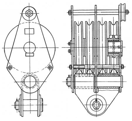 Блок монтажный БМ-32-4-СГО г/п 32т, серьга гнутая и ось