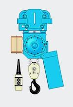 Таль электрическая цепная стационарная на холостой тележке BB054M, г/п 1000кг, высота подъема 9м